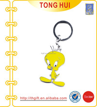 Metal cartoon characters key ring with soft enamel toy keychain
