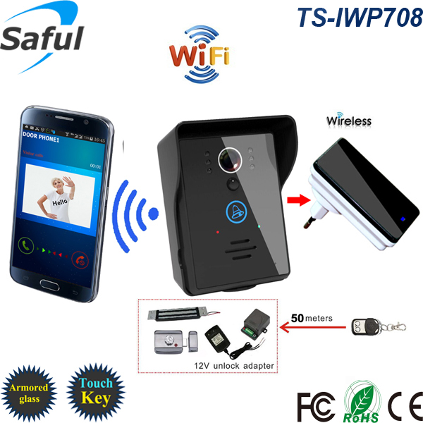 Saful TS-IWP708 ip wifi doorbell with unlock remote controller