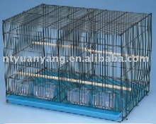 house used parrot cage with wire mesh and cups for canary bird