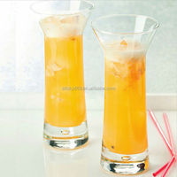 China manufacture glassware 300 ml cow drinking cup juice shaped glass cup with straw