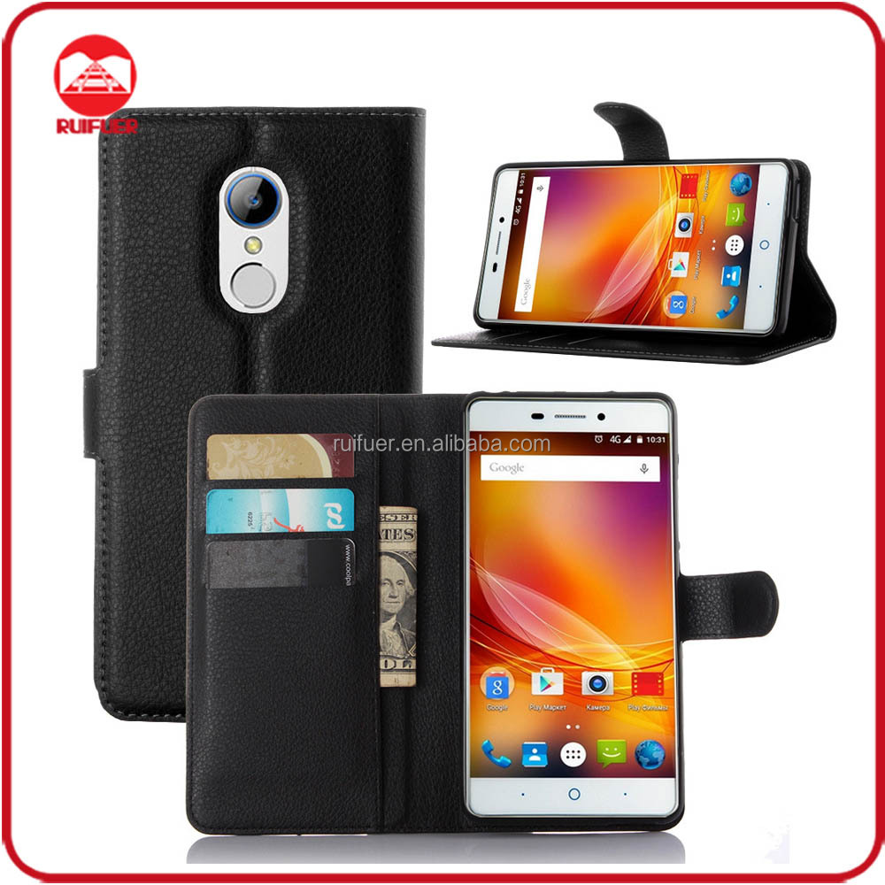 Factory Wholesale Book Folio With Card Holder Stand Flip Wallet Leather Case for Zte Blade X9