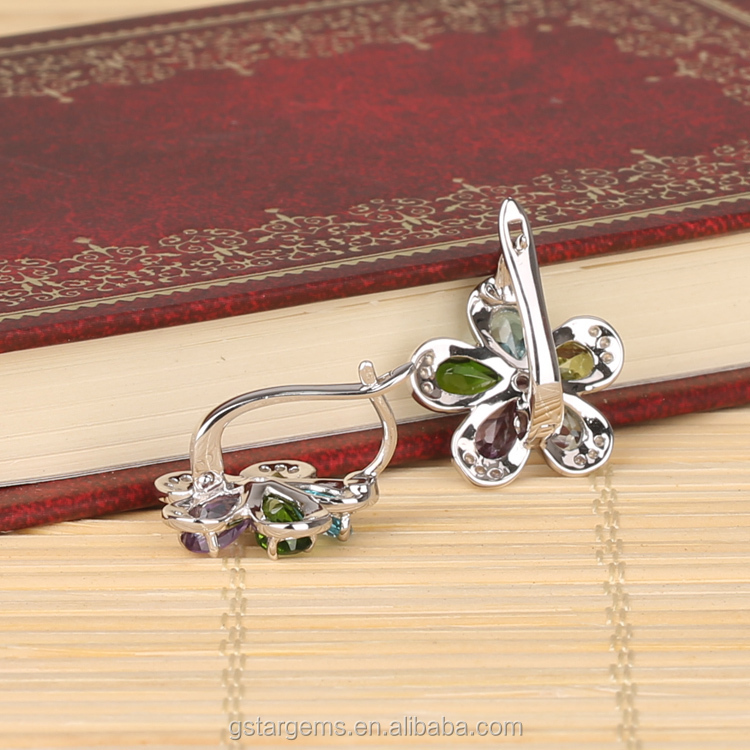 925 Sterling Silver Muilti Color Genuine Gems Clip on Earring Amethyst,Topaz,Peridot, Chrom Diopside