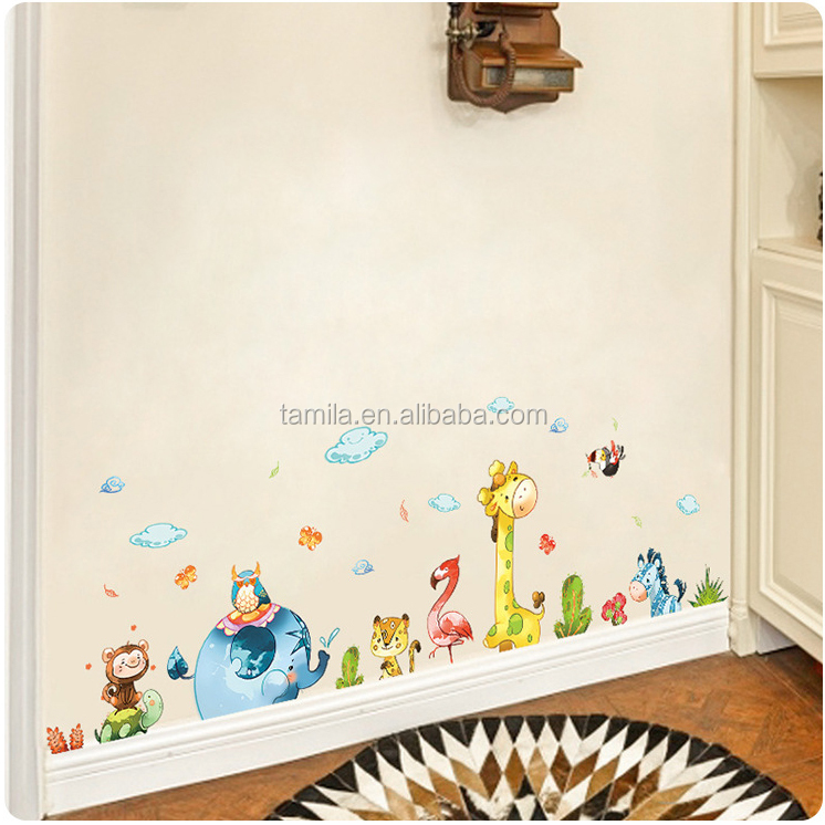 Pretty Decor Children Room Wall Baby Bedroom Stickers Animals Colorful Poster Vinyl Removable Wall Stickers