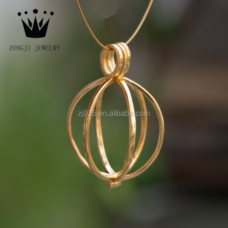 Pretty 925 Sterling Silver Jewelry Gold Cage Pendants For Pearls Or Beads