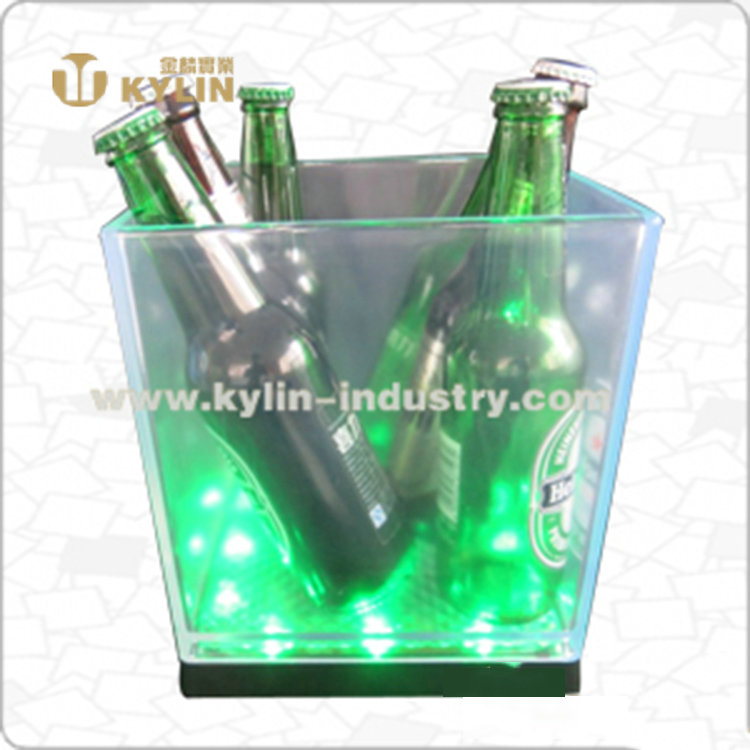 Square transparent cheap price plastic led ice bucket