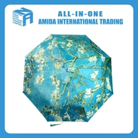 2015 top quality flowering almond oil painting designs Uv protection umbrella