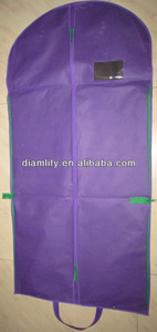 the new purple non woven garment bags with big pockets and with zips around the bag