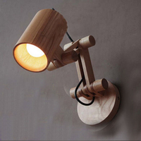E27 indoor small adjustable swing arm solid wooden wall reading lamp for home kids room