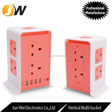 UK Standard Cube Power Strip Surge Protector 10A 2500W Plug Socket with 4 USB
