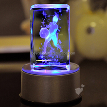 2014 crystal gifts for Aquarius girl,3d crystal cube with led