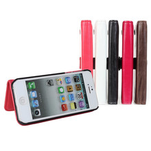 PU Leather Wallet Case Mobile Cover Pouch Bag For iphone 5 5s Case