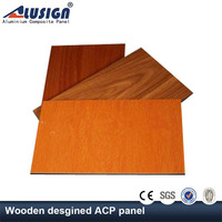 Alusign decorative interior wooden wall cladding aluminium composite panel