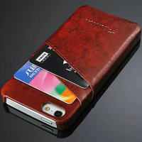 2016 Quality PU credit card insert case leather for Iphone 5 5S 6 6s smartphone