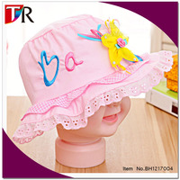 Wholesale Cute spring rippled brim baby bucket cap new born baby cotton hats