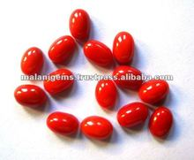 Red Coral Oval Plain Cabochon Loose Gemstones