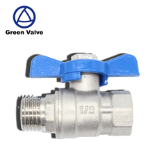 Gutentop GT2970 1/2 inch butterfly handle female and male thread nickel plated brass ball valve