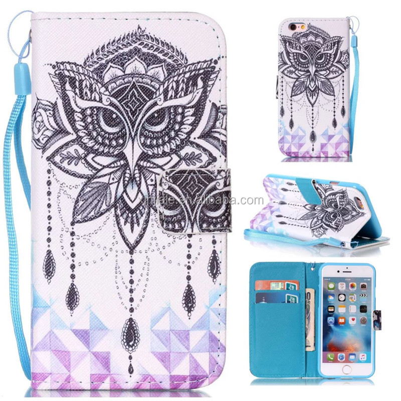 Flip Magnetic Leather Wallet Case Flower Printing Cartoon Cover Phone Shell For LG K7 LG LS775 Mobile Phone Accessories