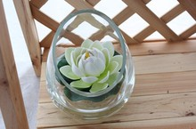 2014 SJ AF095 Wholesale white artificial lotus flower plastic lotus water lily for decorative artificial floating lotus flower