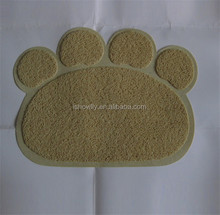 Stone color Pet Paw print litter mat for cats/PVC mat/vinyl cushion floor mat 45x60cm