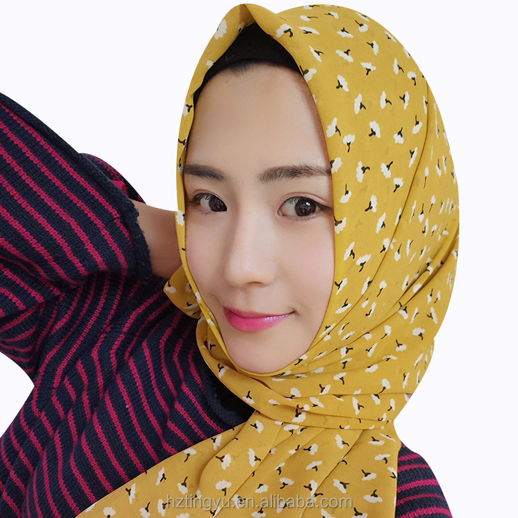 Fashion women stripe tribal printed floral pattern chiffon hijab shawl scarf
