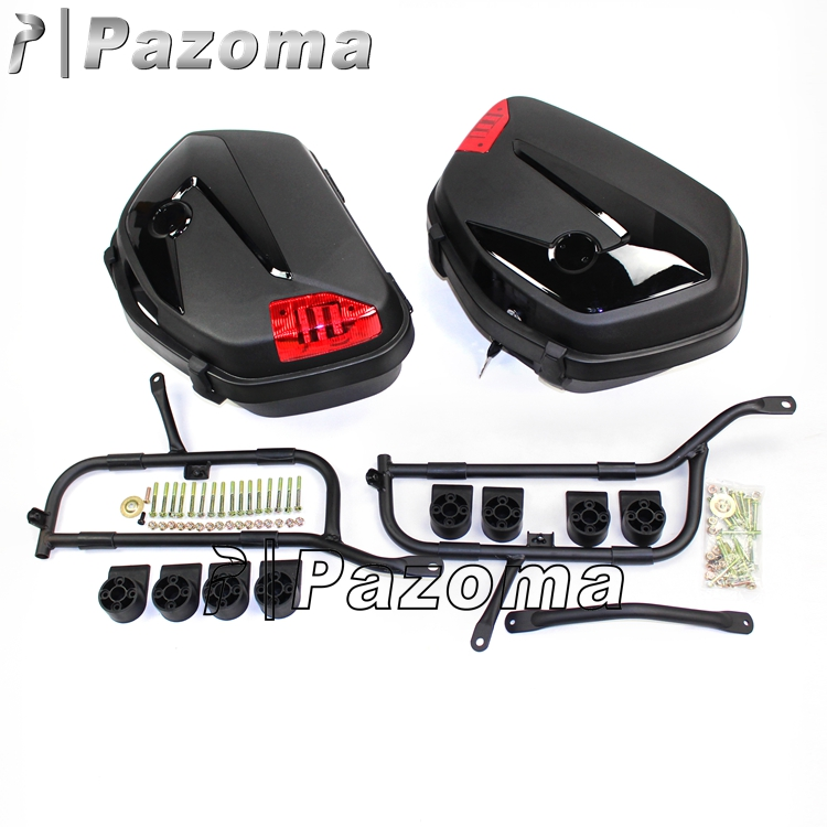 PAZOMA Universal Rear Case 49x35x22cm Black Tail Box ABS Rear Box Motorcycle Case With Bracket Rear Top Case