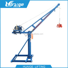 360 Rotating Small Electric Hoist Jib Crane with Scaffold Frame