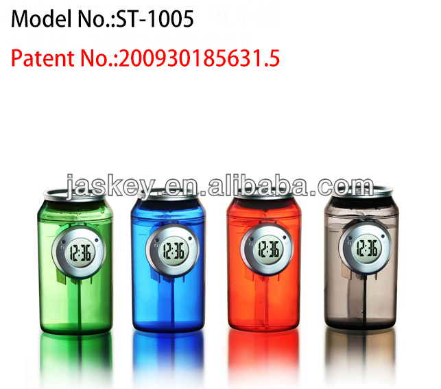 Innovative Cola Shape Design Digital Eco-Friendly Water Powered Clock