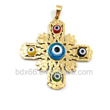 Top Religious Accessories 18K Gold Plated Stainless Steel Catholic Jesus Prayer Cross Pendant With Colorful Evil Eye Beads