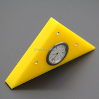 Decoration yellow triangle shape design acrylic desk clock, table clock