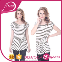 China clothing manufactures women t-shirt in white stripe