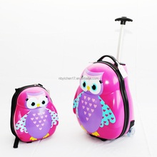 "ABS children cartoon luggage/kids trolley case 13""backpack +17"" luggage case"