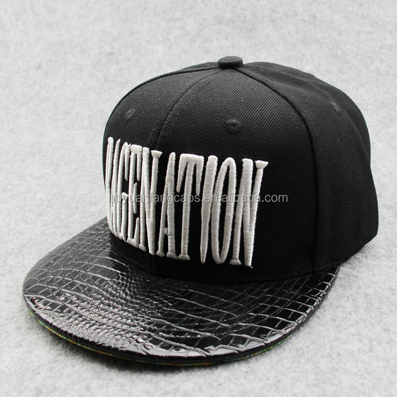 black flat leather brim snapback <strong>cap</strong> with 3d embroidery