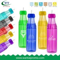 Plastic Drinking Sports Water Bottle With Straw