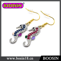 Handmade funny novelty gift cute long nose seahorse drop earring,gold plated crystal earrings