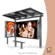Outdoor waterproof material led advertising sign solar bus stop shelter
