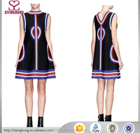latest new color stripe sleeveless round-neck A-line design women dresses