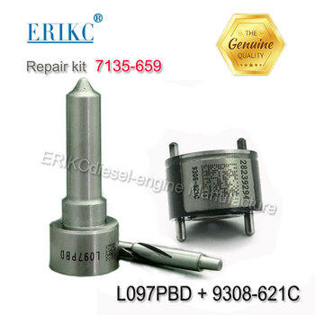 Injector repair kit 7135-659 include control valve 9308-621C and diesel nozzle L097PBD for fuel injector EJBR01901Z
