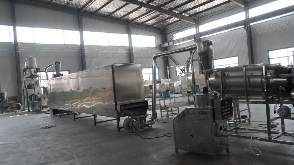 Self-cleaning Twin-screw extruding Automatic Continuous dry dog food machinec