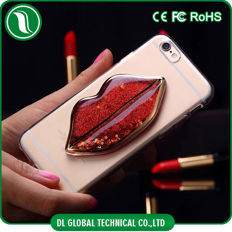 Sexy lip design for iphone 7 case tpu transparent glitter phone case quicksand style soft phone cover