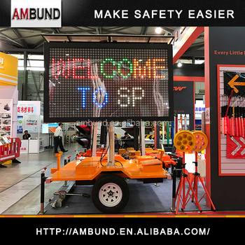5 color Advertising Message Board VMS Sign heavy duty hydraulic lift trailer