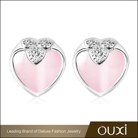 OUXI new design heart pink opal stone fashion designer 925 silver earring Y20254