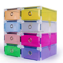 Colorful Clear Plastic Shoes Storage Box Foldable Drawer Type Box for Women Shoes Organizer