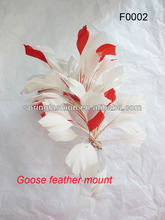 Goose feather mount for trimming on hat millinery