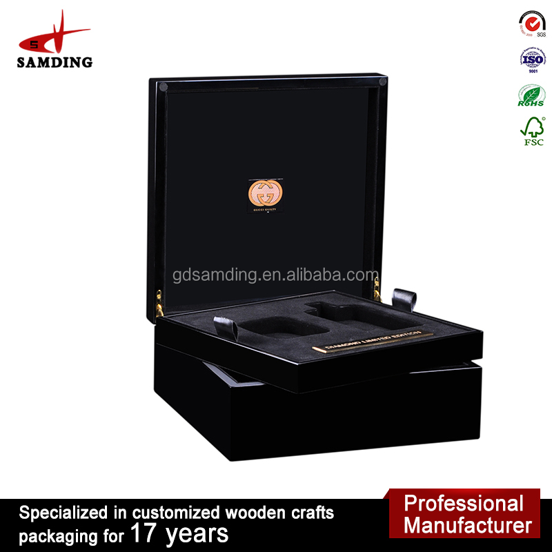 box wooden black perfume fragrance packaging Luxury Piano finish