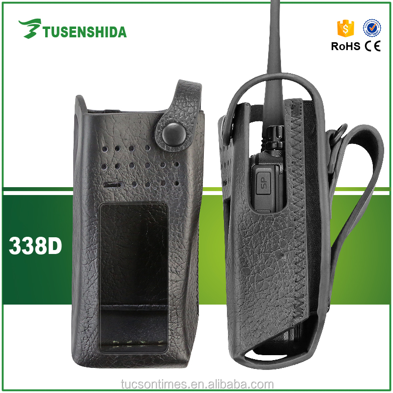 Black Color Hard Leather Holster Case for MOTOTRBO GP328D etc walkie talkie