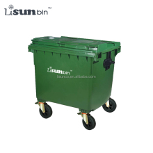 Outdoor green mobile trash bin dustbin wheelie bin 1100 liter