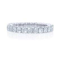 Sterling silver Platinum 5A CZ Eternity band ring