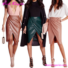 New High Quality Faux Leather Wrap Midi Skirt Tan Pencil Skirt High Waist Suede Skirt