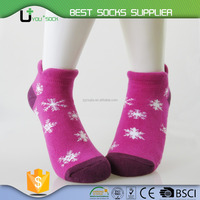 Customized Snowflake Design Terry Thermal Socks Ladies Ankle Socks Women Ankle Sport Socks