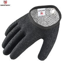 Seeway Cut and Puncture Resistant Fishing Gloves With Magnetic Hooks